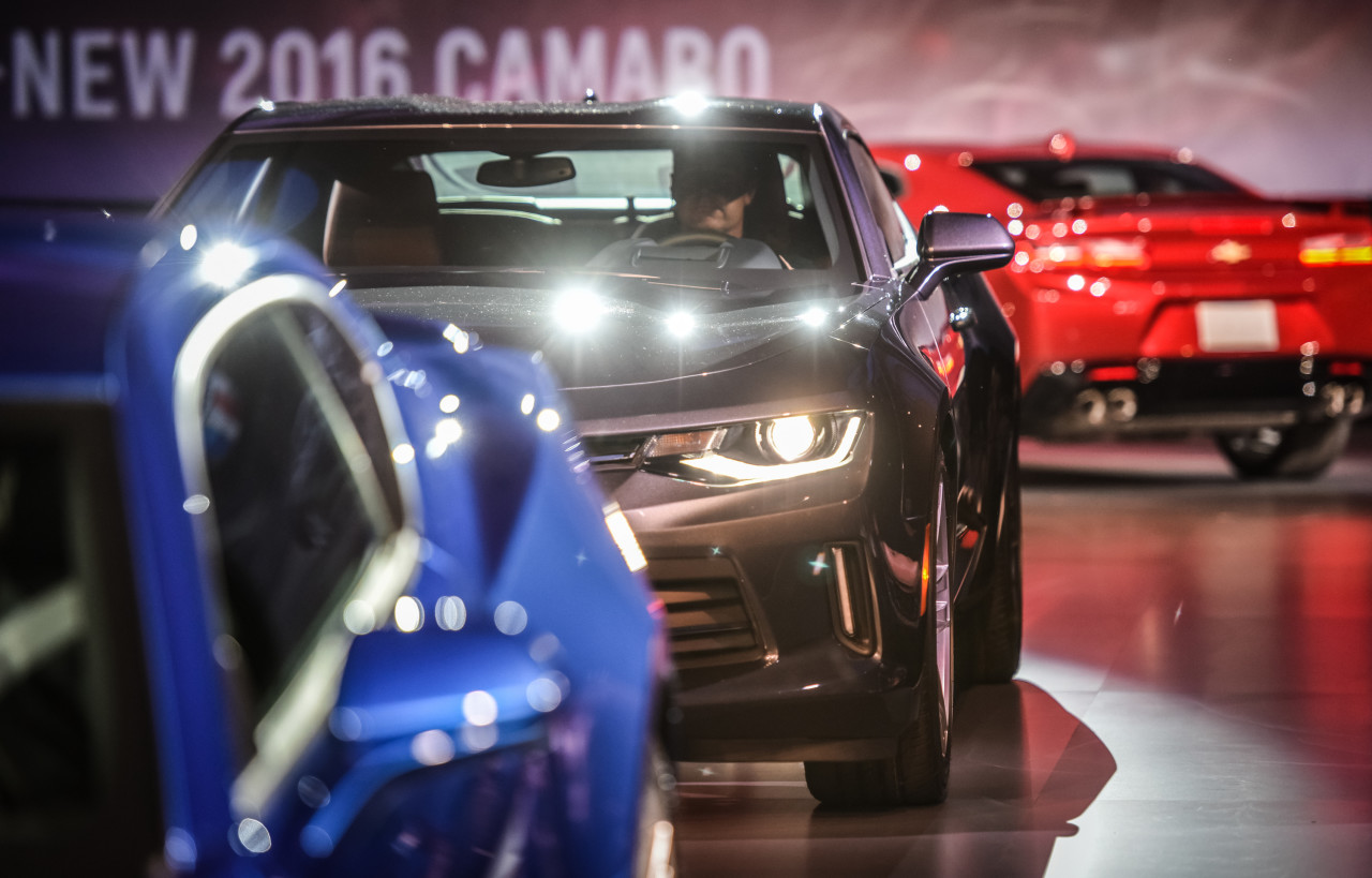 The 2016 Chevrolet Camaro is unveiled Saturday, May 16, 2015 at a special event on Belle Isle in Detroit, Michigan. The sixth-generation Camaro is faster, lighter and more nimble. Engine options include a 2.0L Turbo, an all-new 3.6L V-6 and the LT1 6.2L V-8, which is SAE-certified at 455 horsepower and 455 lb-ft of torque Ð for the most powerful Camaro SS ever. Each engine is available with a six-speed manual or eight-speed automatic transmission. (Photo by Steve Fecht for Chevrolet)